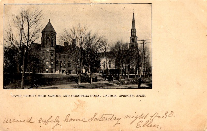 Spencer, Massachusetts - David Prouty High School & Congregational Church - 1904