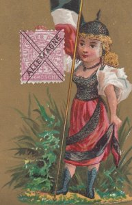 Trade Card (TC): Stamp & Girl carrying Flag , 1880-90s ; ALLEMAGNE (Germany)