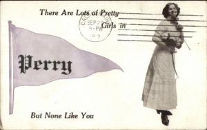 Perry ME Pennant Greeting c1910 Postcard #1