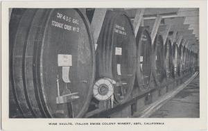 Old ASTI California Ca Postcard WINE VAULTS Italian Swiss Colony Winery Cask