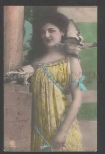 110119 PIGEONS & Lovely Lady w/ LONG HAIR Vintage PHOTO tinted