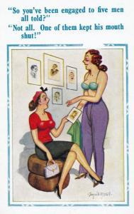 Engaged Going Down On To  Five Men Nymphomaniac Girl Talk Comic Humour Postcard