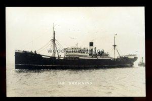 bf1163 - Lamport & Holt Cargo Ship - Browning , built 1919 - postcard B Feilden