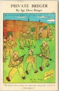 Artist-Signed Dave BREGER Military Comic Postcard Card Winning / Bodyguards