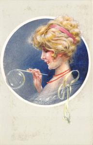 Signed M. Milliere Beautiful Woman Blowing Bubbles Postcard