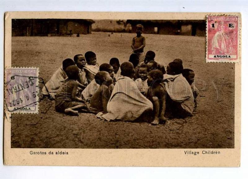 235482 Portuguese Angola village semi-nudes black children OLD