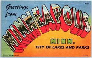 MINNEAPOLIS Minnesota Large Letter Postcard City of Lakes & Parks Linen 1950s
