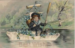 Girl in row boat with Tabby Kitten, Forget-Me-Nots, Best Wishes, PU-1908