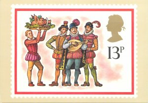 British stamp on postcard Faith Jaques 1978 Christmas 16 cent carollers Boars