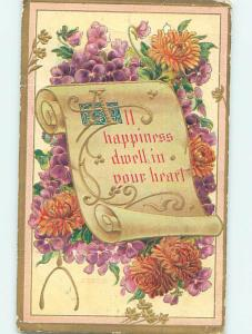 Bent Divided-Back BEAUTIFUL FLOWERS & HAPPINESS ON A SCROLL o9007