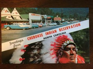 1950's Greetings from Cherokee Indian Reservation, NC Tom-Tom, Sequoyah Rest. C6