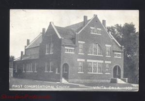 VINITA OKLAHOMA FIRST CONGREGATIONAL CHURCH ANTIQUE VINTAGE POSTCARD B&W