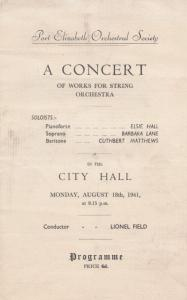 Port Elizabeth 1941 WW2 Opera South African Concert Programme