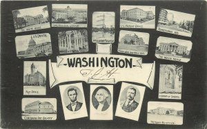 Unusual Early Multiview Postcard DC Buildings, Washington, Lincoln & Roosevelt