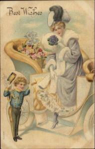 Best Wishes Little Cupid Chauffeur Beautiful Woman in Purple Fancy Car c1910