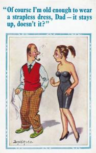 Daughter Dad Wants To Wear Sexy Strapless Dress Comic Humour Postcard