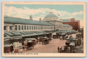 Boston MA~Market District~Warehouse~Crates~Alaska Grocers Delivery Wagon~c1908