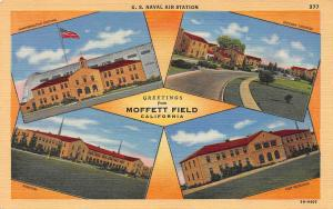 Greetings from Moffett Field, California, Early Linen Postcard, Unused