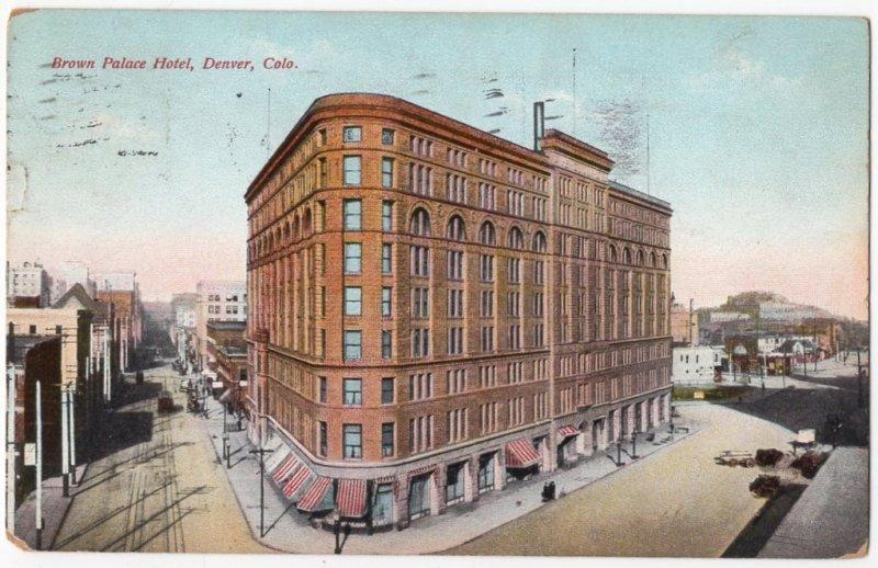HP082221 Brown Palace Hotel Vintage Denver CO Postcard 1913