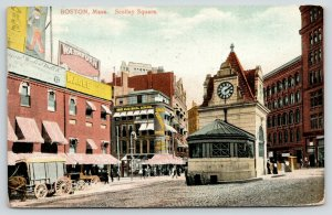 Boston MA~Scollay Square Subway Clock~Gray Electrical School~Magee~Wagons~1909