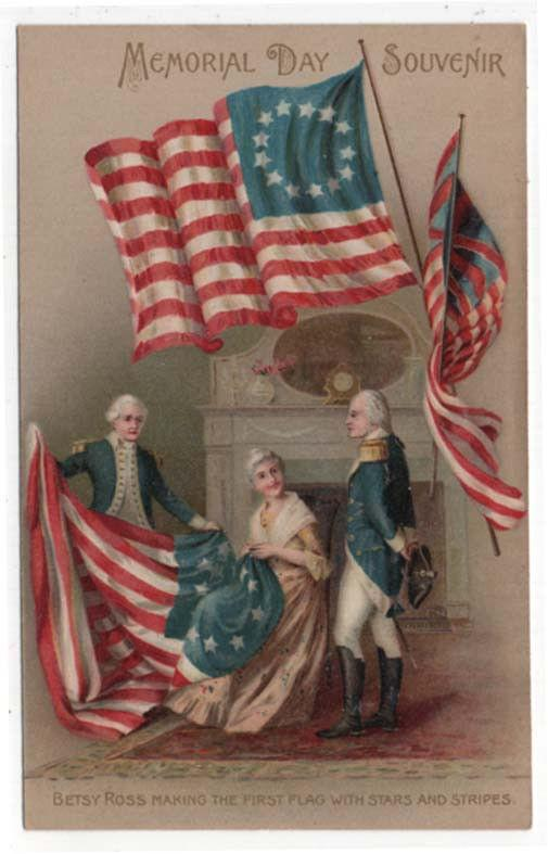 Vintage Decoration/Memorial Day Post Card, Betsey Ross Making First Flag
