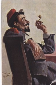 TUCK # 1210B; Deutscher Meister, Soldier with pipe, 1904 Artist Rochling