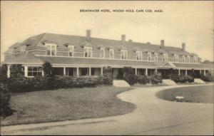 Woods Hole Cape Cod MA Breakwater Hotel c1940 Postcard