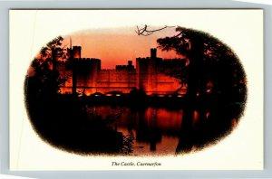 Caernarfon UK-United Kingdom, The Castle, Chrome Postcard