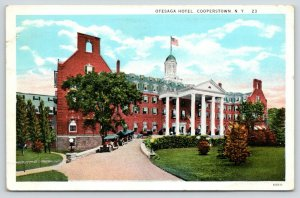 Cooperstown New York~Otesaga Hotel Close Up~Vintage Cars in Circle Drive~c1920s