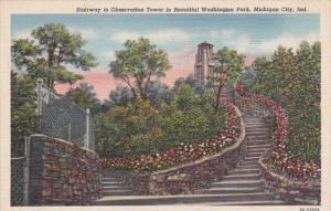 Indiana Michigan City Stairway To Observation Tower In Washington Park Curteich