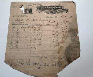1898 Rare Rochester Stamping Works Tea Pot Sheet Metal New York Bill Letterhead