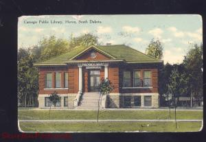 HURON SOUTH DAKOTA CARNEGIE PUBLIC LIBRARY ANTIQUE VINTAGE POSTCARD S.D.