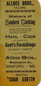 Advertising Booklet-  Allbee Bros. Tailors, 1899-1900. Graph Notebook   (5.75...