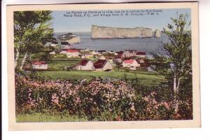 Perce Rock and Village from SW Hillside, Quebec, HV Henderson