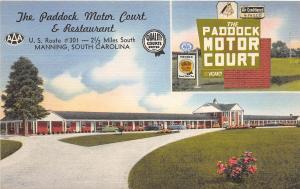 B53/ Manning South Carolina SC Postcard Linen The Paddock Motor Court Roadside