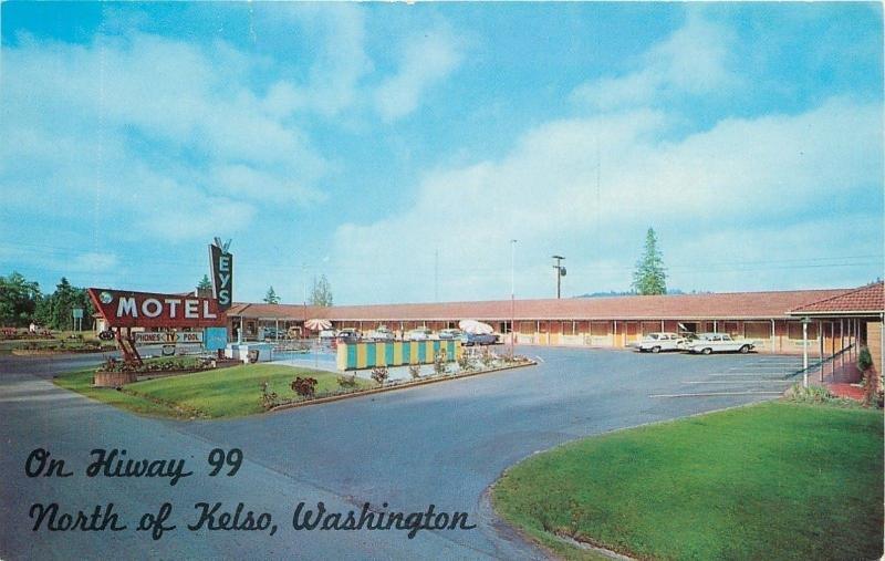 Kelso Washington~Veys Motel On Highway 99 Blue/Yellow Fence~1950s Postcard