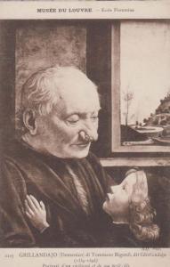 Grillandajo Tommasco Bigordi Old Man & Child Painting Antique Louvre Postcard