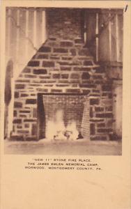 Stone Firteplace James Emlen Memorial Camp Morwood Montgomery County Pennsylv...
