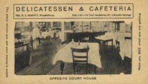 Delicatessen & Cafeteria Colorado Springs, CO, USA Writing on back