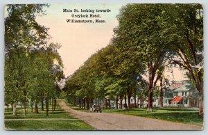 Williamstown Massachusetts~Early Auto on Dirt Main St Boulevard~Big Homes~c1910