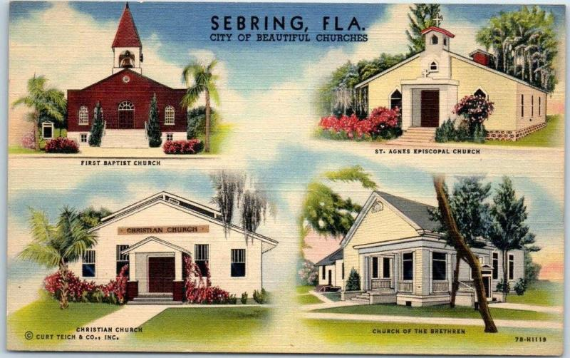 Sebring, Florida Postcard City of Beautiful Churches 4 Building Views Linen