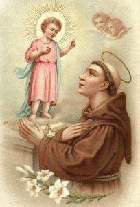 1890s Dresden Religious St. Anthony Of Padua Jesus & Angels P222