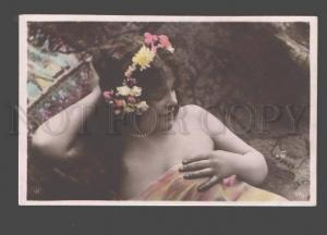 087388 Semi-Nude Woman w/ LONG HAIR Flowers old PHOTO NPG 1904