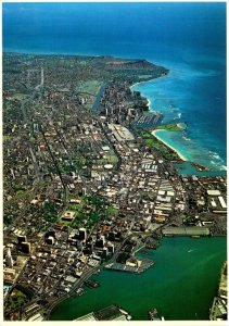 Hawaii Honolulu Downtown Aerial View Showing Moana Park and Yacht Harbor