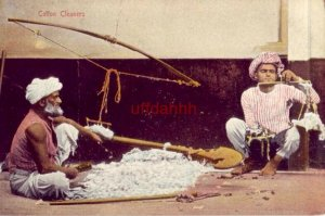 BRITISH INDIA POSTAL COTTON CLEANERS two men cleaning & weighing cotton