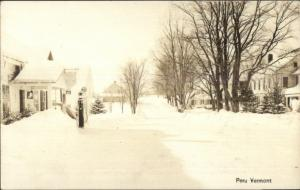 Peru VT Street iN Winter GAS PUMP c1930s Real Photo Psotcard