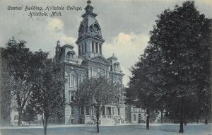 Hillsdale Michigan~Central Building~Hillsdale College~1908 Postcard