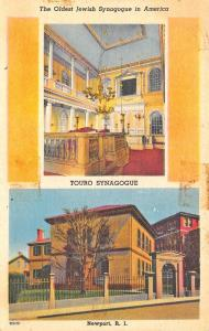 Newport RI Oldest Jewish Synagogue in America Linen Postcard