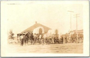 Vintage RPPC Real Photo Postcard Street Parade Scene / Covered Wagons c1910s