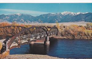 Old fashioned bridge over the Jefferson River,  Montana,   40-60s